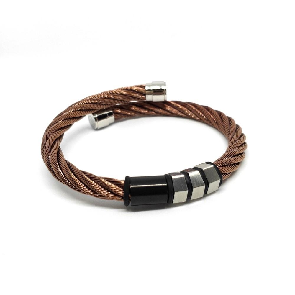 CHARRIOL 夏利豪 Celtic古銅色鋼索手環+PVD黑(銀)