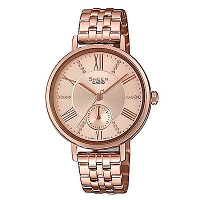 SHEEN 耀眼微光閃耀女神不鏽鋼腕錶-粉面(SHE-3066PG-4A)/41mm @ Y!購物
