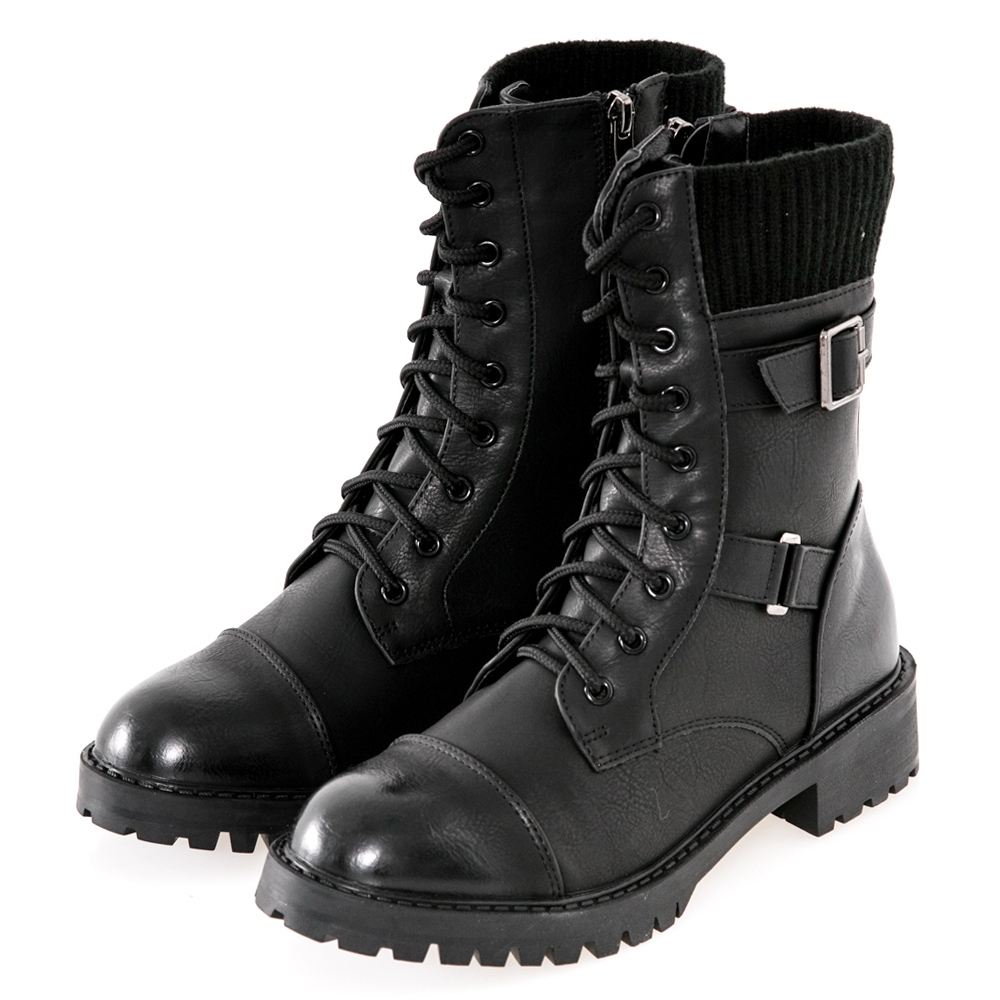 JMS-街頭風拼接扣環綁帶馬汀馬丁軍裝感中靴-黑色