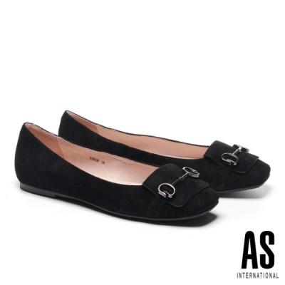 平底鞋 AS 經典知性金屬馬銜釦全真皮方頭平底鞋-黑