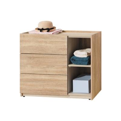 柏蒂家居-瑞莎3尺三斗櫃/三抽半開放收納置物櫃-90x40x75cm