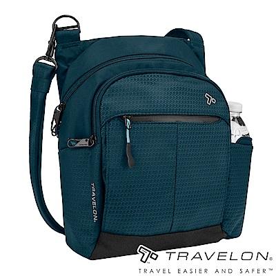 Travelon美國防盜包 防割鋼網運動系列旅行斜背包TL-43124-18藍