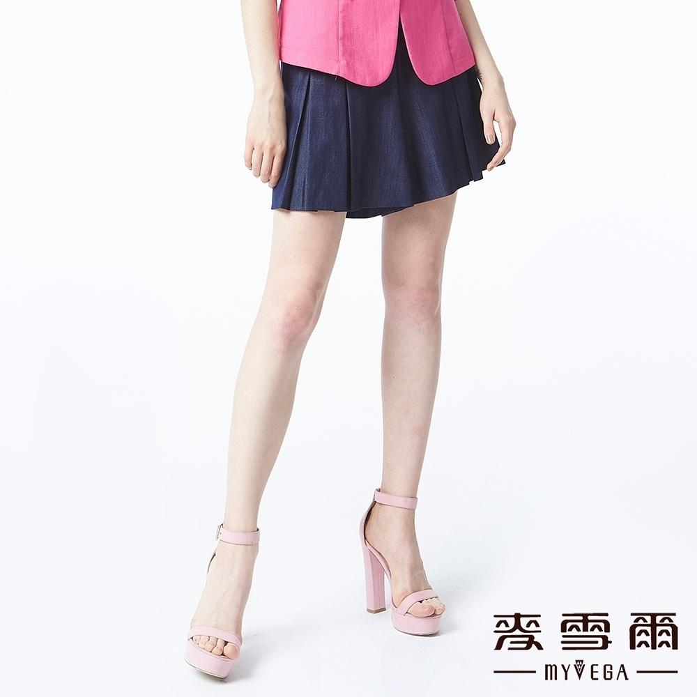 麥雪爾 純色丹寧百折褲裙