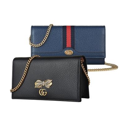 [時時樂限定]GUCCI 雙G LOGO蝴蝶結設計/紅藍紅織帶牛皮鍊帶磁扣斜背包/長夾 (兩款兩色)