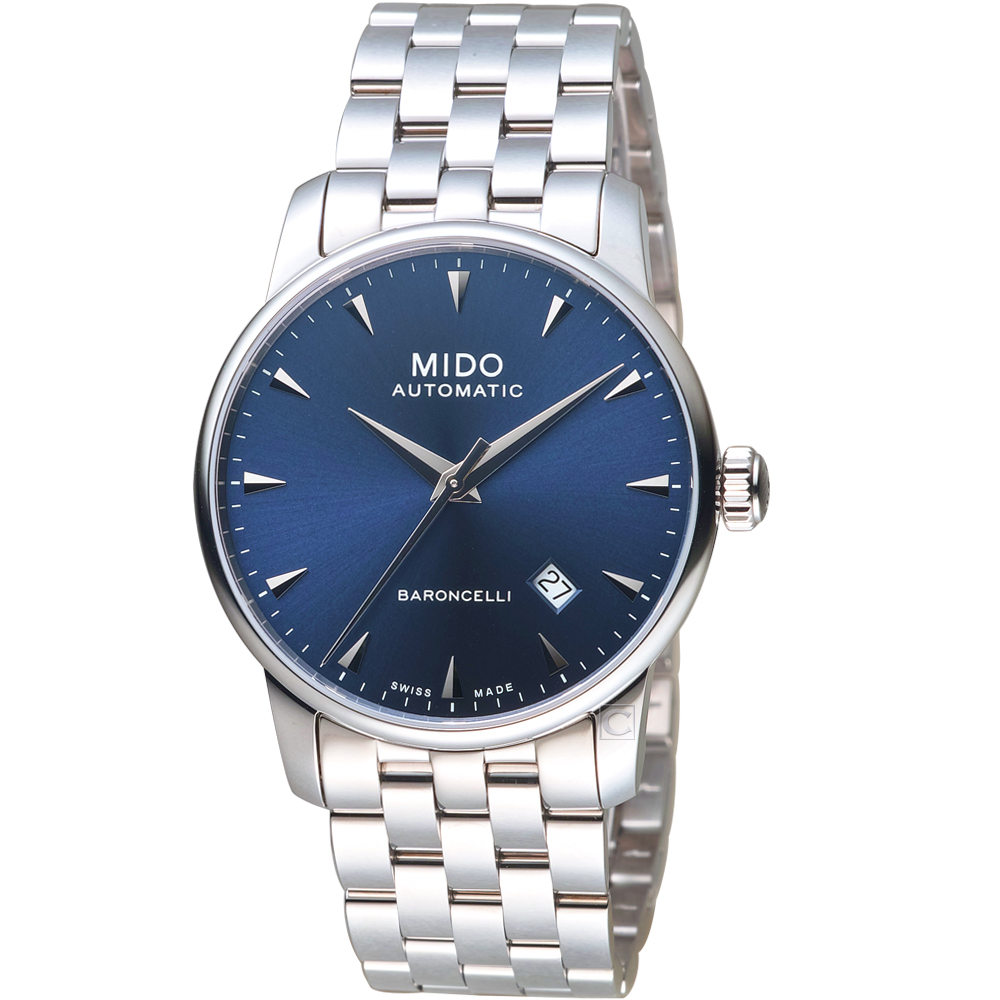 MIDO美度永恆系列午夜藍機械男錶(M86004151)-鋼帶