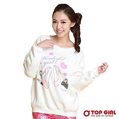【TOP GIRL】時尚漂亮寶貝飛鼠袖長T - 經典白
