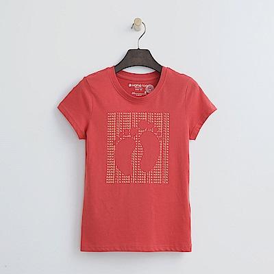 Hang Ten - 女裝 - 有機棉 方形滿版印字腳丫T恤-橘紅色