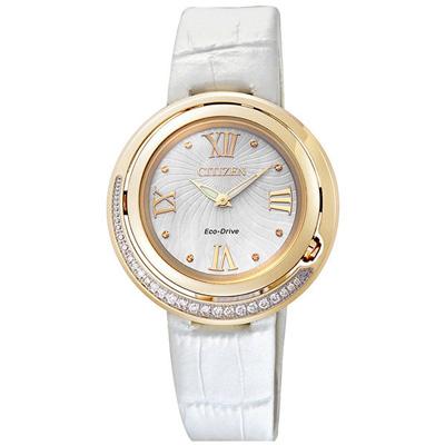 CITIZEN L系列 弦月精靈光動能時真鑽女錶-金框x白皮帶