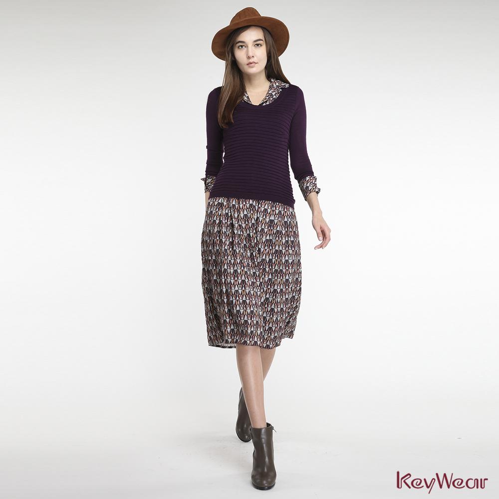 KeyWear奇威名品    歐風立體花紋針織拼接印花假兩件長袖洋裝-紫紅色