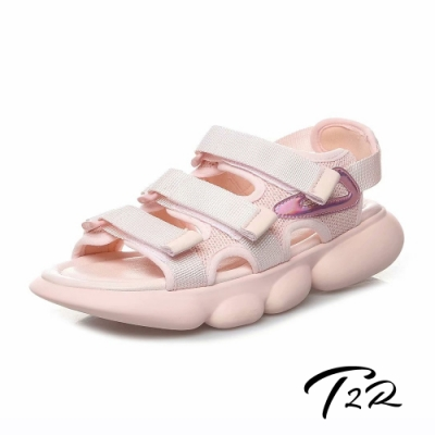 T2R 正韓空運-2019夏季新款魔鬼氈厚底運動涼鞋-微增高4cm-粉