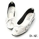 D+AF 甜心焦點.大理石漆皮低跟芭蕾鞋*白