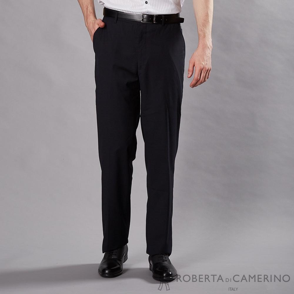 ROBERTA諾貝達 商務紳士 條紋平面西裝褲 深藍