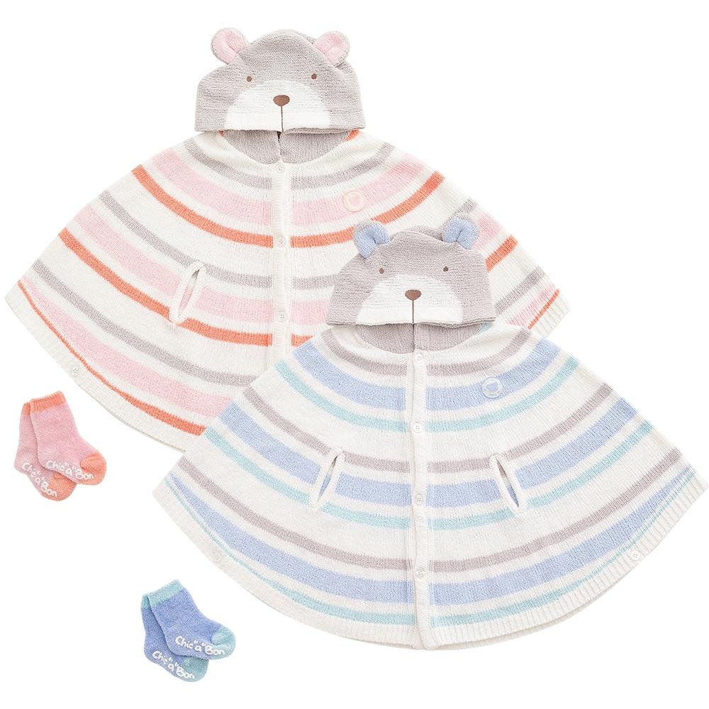 奇哥 柔舒造型披風+童襪禮盒(2色選擇)
