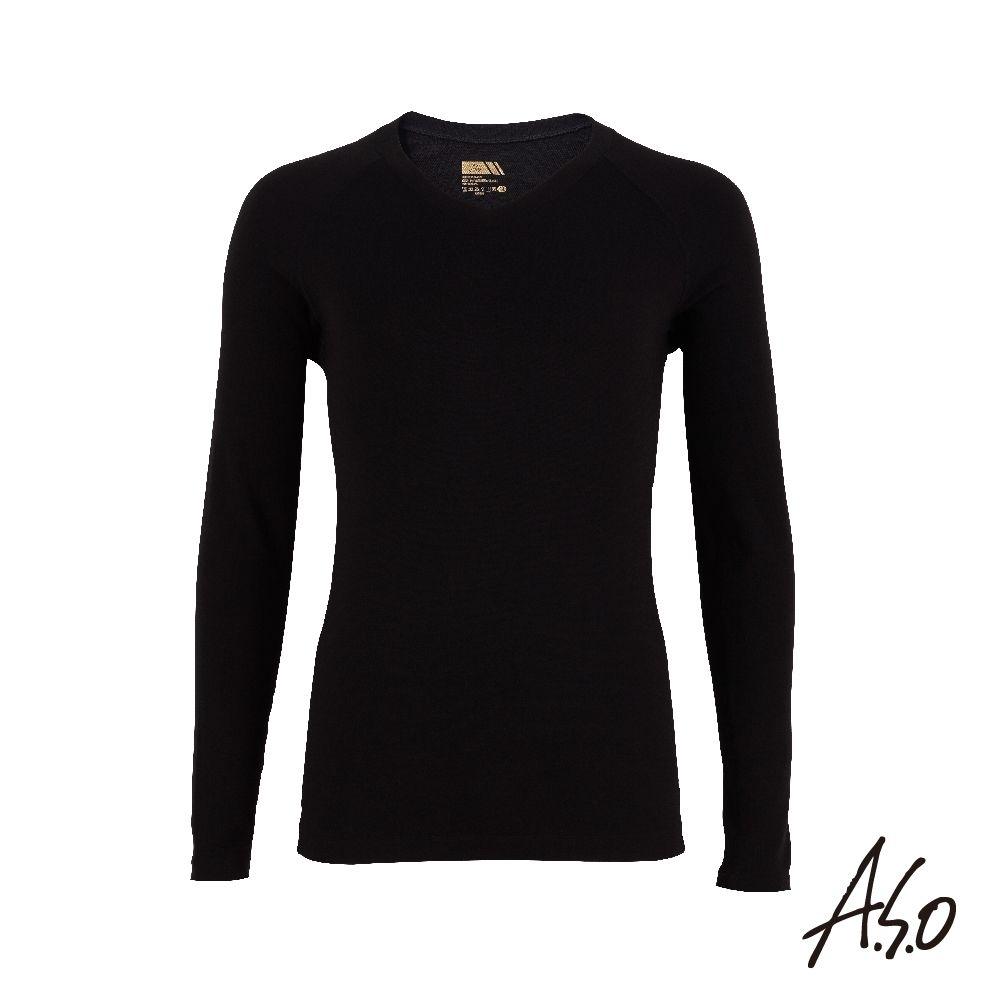 A.S.O 負離子膠原蛋白V領長袖男上衣-黑