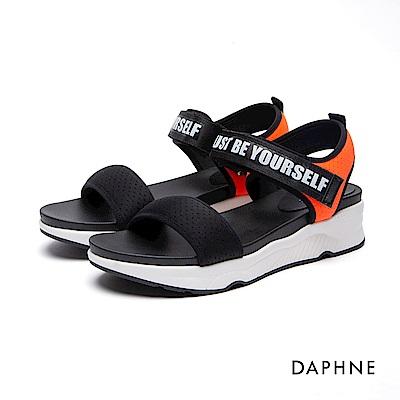 達芙妮DAPHNE 休閒鞋-魔鬼氈字母印花休閒鞋-黑
