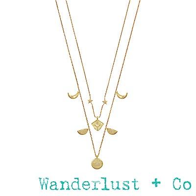 Wanderlust+Co Stella 金色星星月亮雙層項鍊