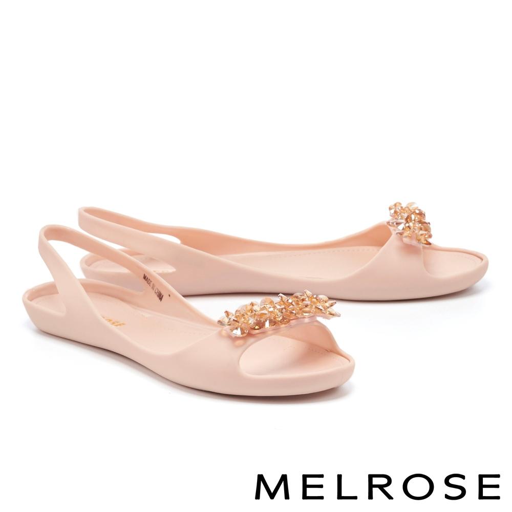 涼鞋 MELROSE 質感水鑽後繫帶防水低跟涼鞋-粉