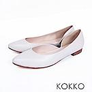 KOKKO -首爾早晨尖頭側挖空素面平底鞋-鴿子白