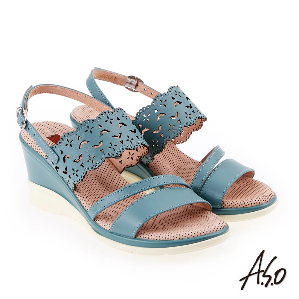 A.S.O 挺麗氣墊 沖孔幾何圖騰全真皮氣墊楔型涼鞋 淺藍