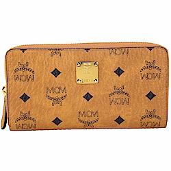 MCM Visetos 滿版品牌圖騰皮革拉鍊長夾(棕色)