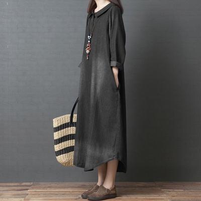 【KISSDIAMOND】韓系寬鬆舒適牛仔長洋裝(輕熟女/簡約風/KDD-3120)