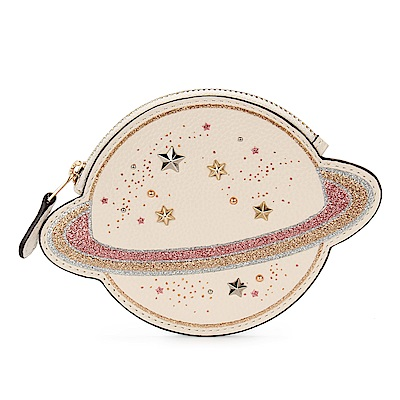 COACH NASA 星球造型鉚釘綴飾荔枝紋皮革零錢包-粉紅/米白色