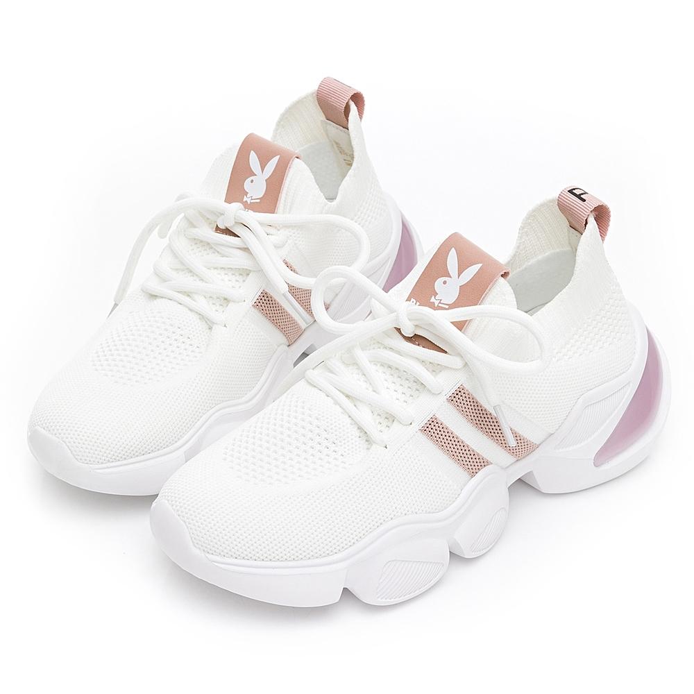 PLAYBOY輕量美腿兔兔老爹鞋-白-Y673111