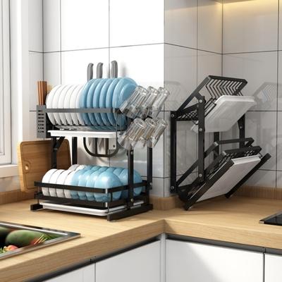 AOTTO 免組裝-不鏽鋼可摺疊雙層碗盤瀝水架(廚房收納架 廚房置物架)