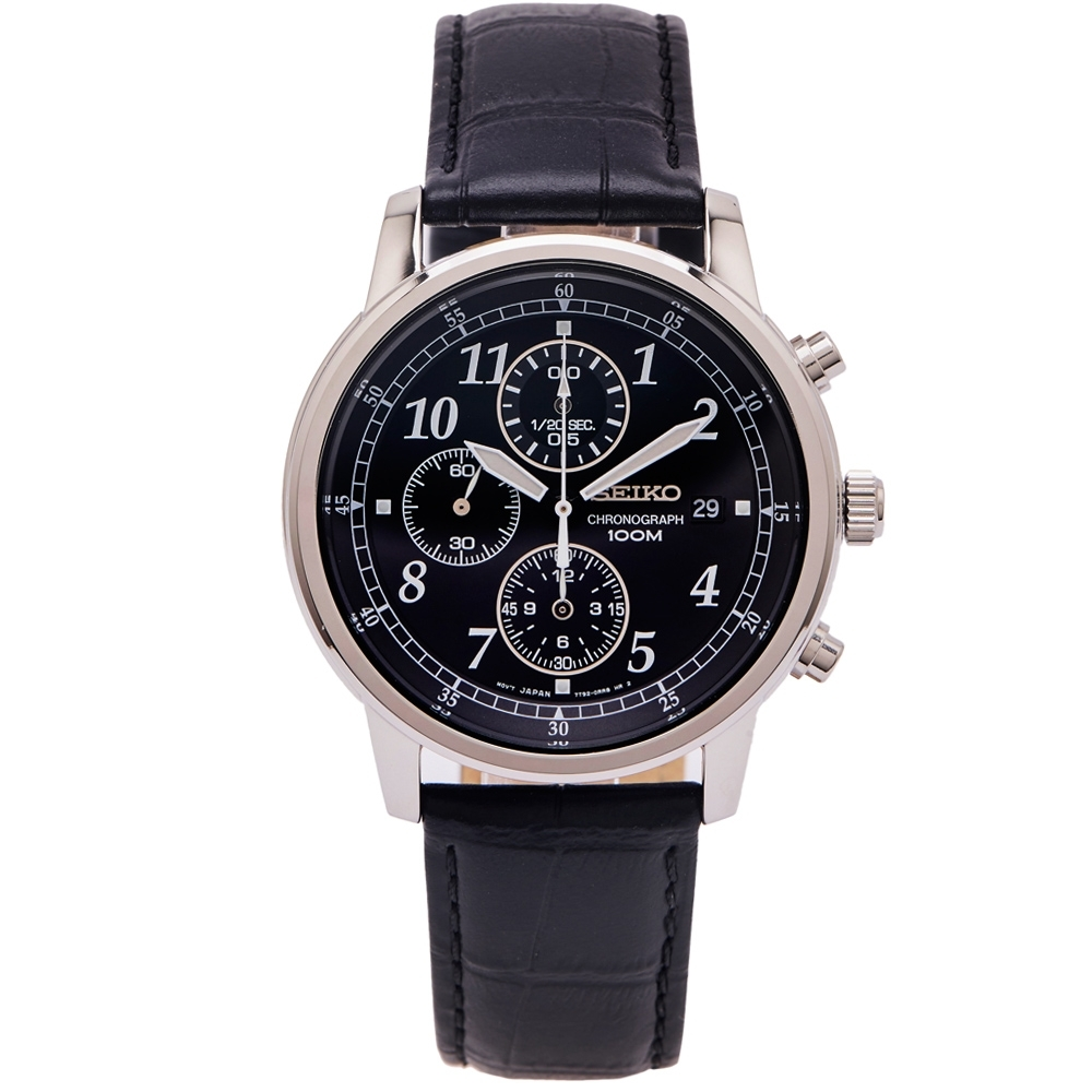 SEIKO 簡約時尚風計時的皮革錶帶手錶(SNDC33P1)-黑面x黑色/40mm
