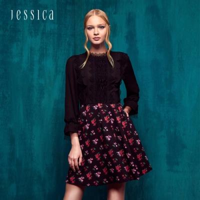 JESSICA - 古典蕾絲領拼接小花束A-Line洋裝