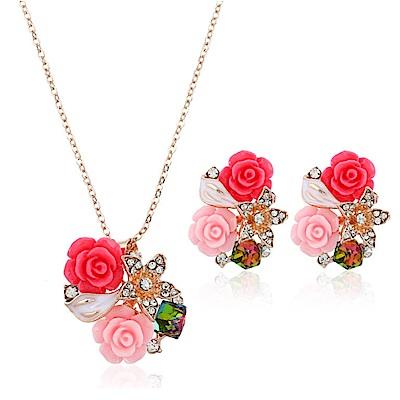 RJ New York 浪漫情懷鮮豔玫瑰花鋯石項鍊耳環2件式套組