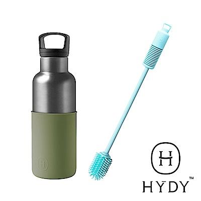 限定組HYDY CinCin時尚保溫瓶刷組(鈦灰瓶480ml+刷具藍色)-兩色