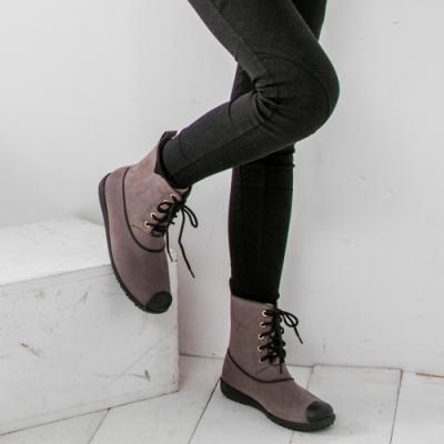 JMS-率性百搭雨天首選綁帶馬丁款雨靴-棕色