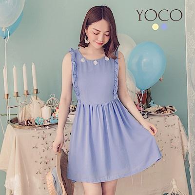 東京著衣-YOCO  氣質領口花朵綴珠無袖洋裝-XS.S.M(共兩色)