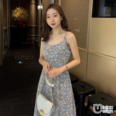 Mini嚴選- 韓版中長版碎花雪紡吊帶裙 二色