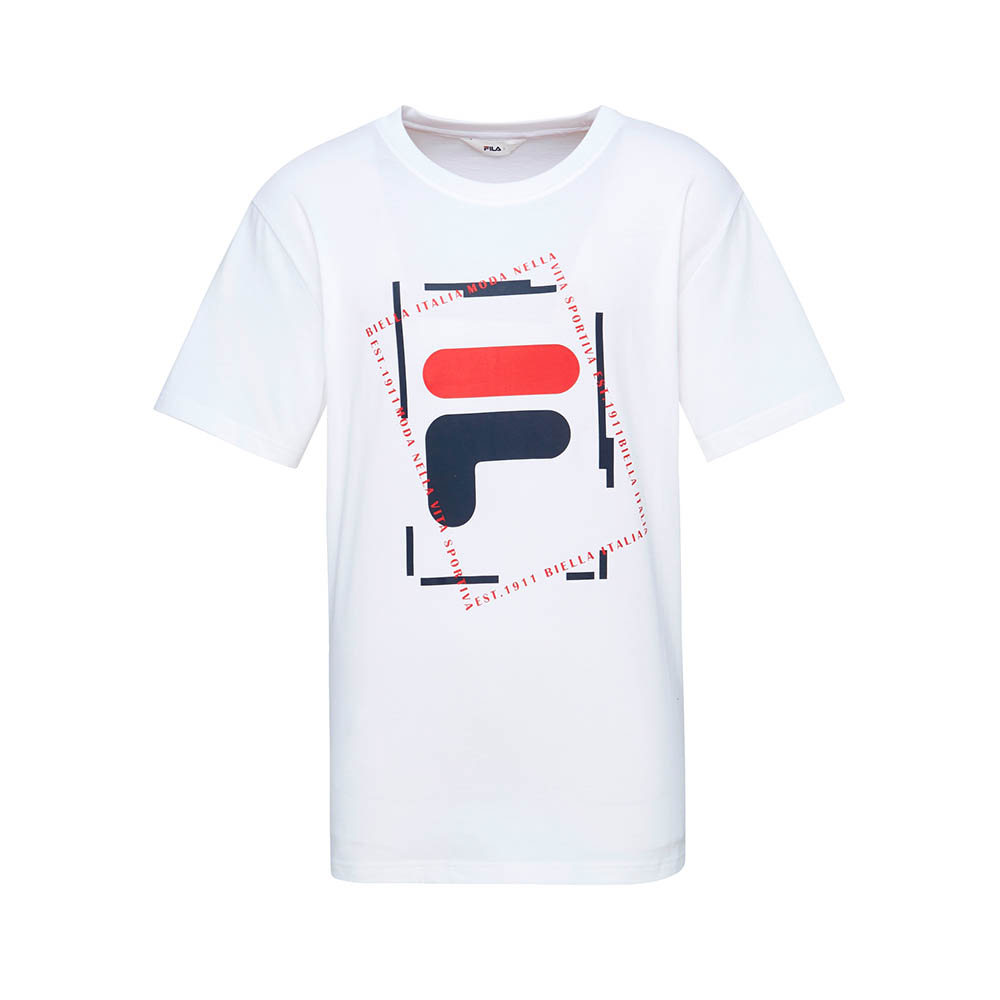 FILA 男款短袖圓領T恤-白色 1TET-1512-WT