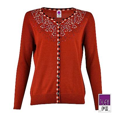 ILEY伊蕾 繽紛裝飾緹花羊毛混紡針織外套(磚)