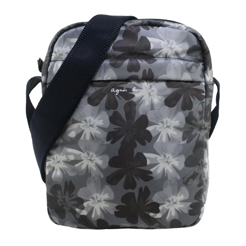 agnes b. 花卉印花雙色背袋尼龍斜背包-黑