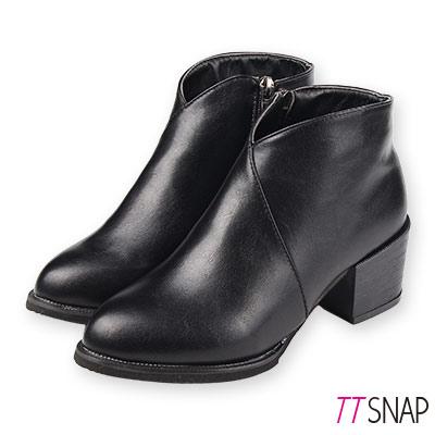 TTSNAP短靴-韓國空運斜口尖頭拉鍊中跟靴 黑