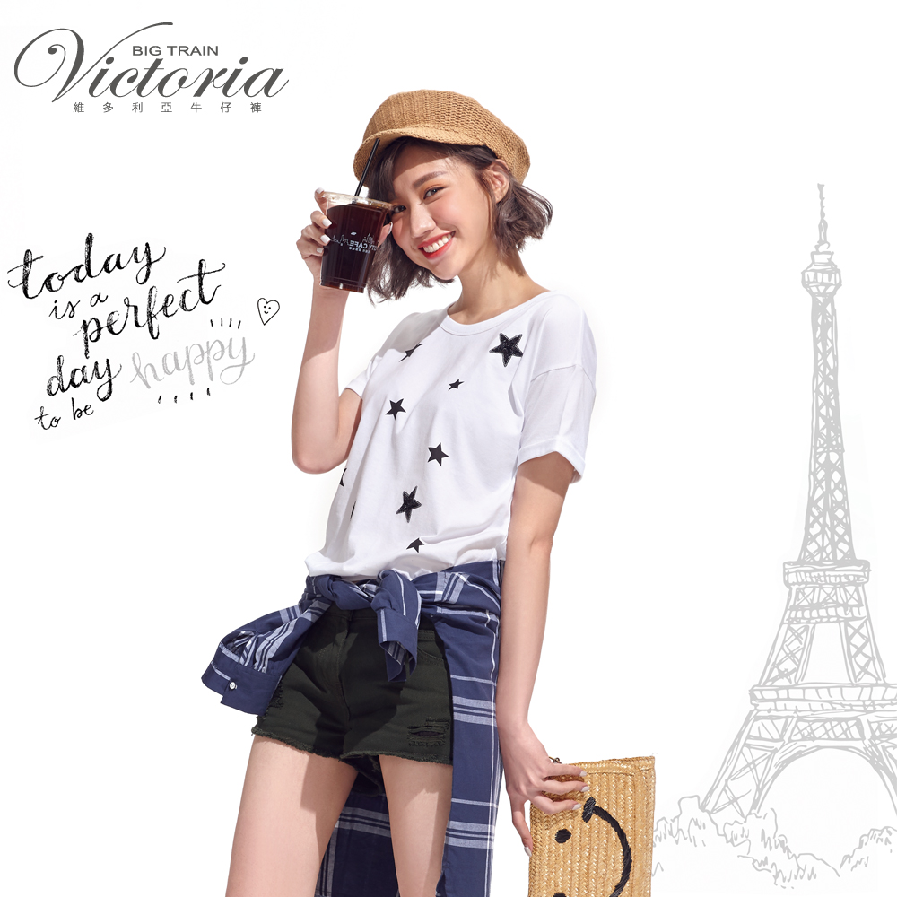 Victoria 星星印亮片繡寬鬆短袖T-女-白色 product image 1
