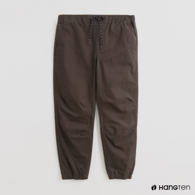 Hang Ten - 男裝 - 素面抽繩寬版休閒長褲 - 綠