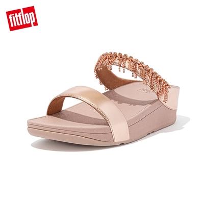 【FitFlop】FINO CHANDELIER SLIDES 閃亮金屬人造皮革雙帶涼鞋-女(玫瑰金)