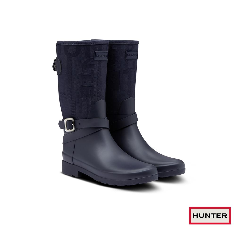 HUNTER - 女鞋-Refined LOGO緹花短靴-夜空藍