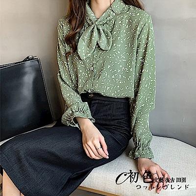 時尚印花小領結雪紡襯衫-共3色(M-2XL可選)    初色