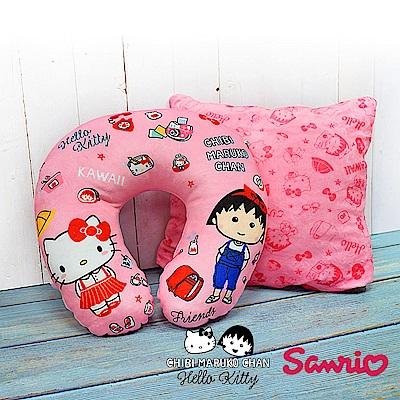 Hello Kitty x 小丸子 超可愛聯名款 兩用變型枕 U型頸枕/午安枕/抱枕
