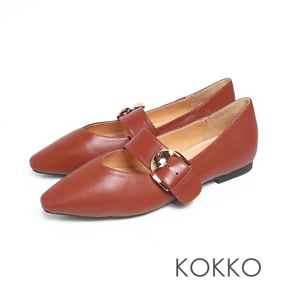 KOKKO超彈方頭寬版瑪莉珍小羊皮平底鞋霧面咖