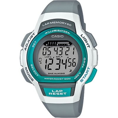 CASIO 卡西歐 運動慢跑女錶-灰x湖水綠(LWS-1000H-8A)