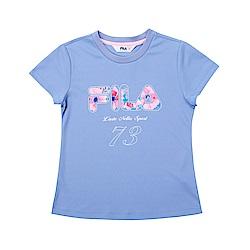 FILA KIDS 童吸濕排汗短袖上衣-藍紫 5TET-4918-VT