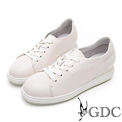GDC-青春真皮素色馬卡龍百搭綁帶休閒鞋-米色