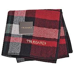 TRUSSARDI 正方格圖紋字母刺繡LOGO小方巾(紅黑底)